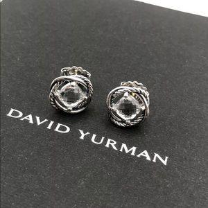 David Y 7x7mm White Topaz Earrings